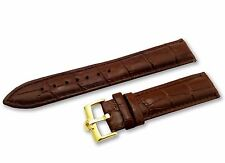 18mm 19mm 20mm Genuine Leather Strap/Band for Omega Watch Brown YLW Gold Buckle