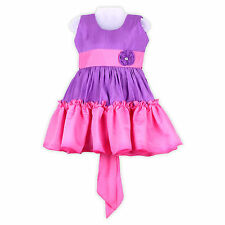 LaOcchi Pink and Violet Frill Partywear Frock with Flower