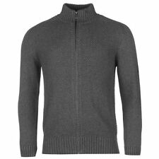 Firetrap Full Zip Knit Jumper Mens Charcoal Sweater Pullover Top