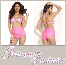 Sexy Pink Vintage Retro Two Piece Polka Dot Bikini Size M 8 10 12 14 Swimwear