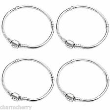 4 x Silver Plated Ladies Girls Womens European Charm Bracelets for Charm Beads