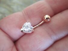 Heart Rose Gold Titanium Plated Belly Button Navel Ring Body Jewelry Clear Gem
