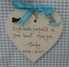 dogs leave pawprints on your heart personalised heart Dog Memorial 10cm