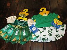 Lot of 2 NWT Green St Patricks Day Build-A-Bear Shamrock Outfits