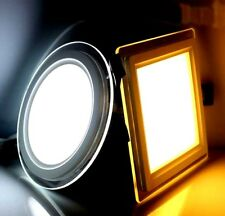 Recessed LED Lighting Glass Panel Round & Square Ceiling Down Light 1/3 colour