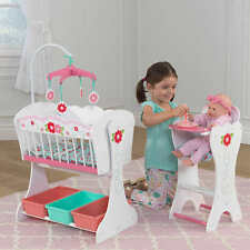 Doll Furniture Set Wood New Cradle High Chair Pretend Imaginative Play Storage
