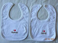 Boys Girls CUTE Bib Plain Cotton I Love my DADDY/MUMMY Baby Feeding White Bib