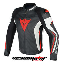 Giacca Dainese Assen Leather Jacket Black/White/Red Fluo (Nero/Bianco/RossoFluo)