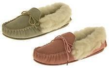 Ladies Lodgemok SUEDE LEATHER Moccasins REAL WOOL Shoe Slippers Sz Size 5 6 7 8