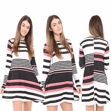 New Ladies Womens Coral Stripe Print Long Sleeves Swing Dress Flared TOP UK 8-26