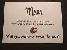 Gold Silver Hearts Mum Will you Walk Me Down The Aisle 240gsm White Smooth Linen