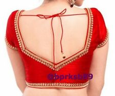 Designer Red Color Readymade Saree Blouse with Kundan work, Sari Blouse