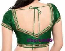 Designer Green Color Readymade Saree Blouse with Kundan work, Sari Blouse