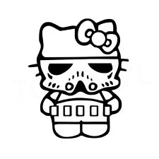 "5"" HELLO KITTY STORMTROOPER Vinyl Decal Sticker Car Window Trooper Star Wars"