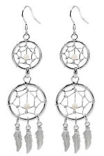 Handmade Silver DreamCatcher Double Dangle Earrings with Genuine Stones
