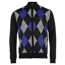Pierre Cardin Full Zip Argyle Cardigan Mens Black/Royal Jumper Sweater Top