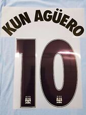 """KUN AGUERO 10"" Manchester City Home Euro  Navy Adult Name & Number Set 2015/16"
