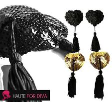 Womens Stick On Nipple Tassel Sequin Black Heart Flower Rose Pasties Burlesque