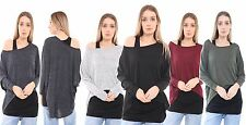 Oversized Womens Loose Long Sleeve Shirt Blouse Ladies Baggy Tops Batwing 8-14