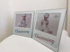 New Gorgeous 6''X 4'' Boy Or Girl Christening Mirror Glitter Photo Frame