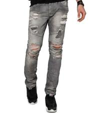 REDBRIDGE Herren Ripped Skinny Slim-Fit Jeans Hose Röhrenjeans Black Destroyed