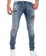 REDBRIDGE Herren Slim-Fit  Jeans Hose Röhrenjeans Blue Denim Ripped Destroyed dG