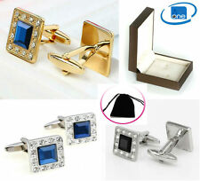 Diamond Gem Black Blue Crystal Silver / Gold Royal Cuff-link + Pouch Or Gift Box