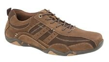 Mens Dark Brown Waxy Suede Lace Up Casual Shoes