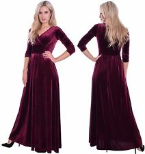 Long Elegant Velvet Evening Dress 3/4 Sleeve Empire Wedding Cruise Burgundy MQ
