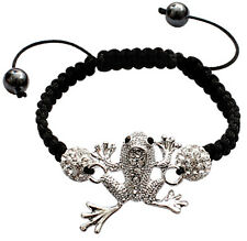 Shamballa Bling Bling Bracelet with CZ Crystal and Silver Plated Frog