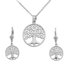 .925 Sterling Silver Tree of Life Openwork Pendant Necklace & Matching Earrings