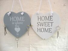 Wooden Wall Key Holder Shabby Chic Heart Home Hanging Key Rack Storage Hooks