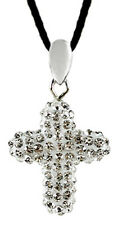 Silver Plated Pendant Cross Design Necklace for Woman with CZ Crystal FREE V.Bag