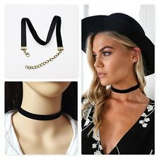 BOHO CLASSIC HANDMADE VINTAGE PLAIN BLACK VELVET RIBBON CHOKER COLLAR NECKLACE