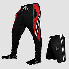 Pair Of Mens Training Tracksuits Bottom and Breathable Training Shorts-Black