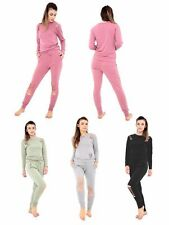 New Ladies Womens Distressed Ripped Joggers Lounge wear Tracksuit Set UK 8-26