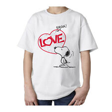 Peanuts Snoopy Love Smak Official Kid's T-Shirt White
