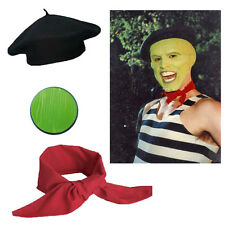 Fancy Dress Film 90's 3Pc Hat Scarf Face Paint French Jim Carrey The Mask Movie