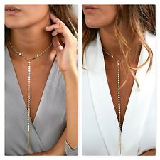 FASHION JEWELRY LONG LARIAT SEQUIN PENDANT CHAIN CHOKER STATEMENT BIB NECKLACE