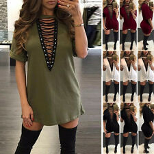 Women Deep Hot Party Bodycon Neck Lace Up New Bandage Summer T-Shirt Dresses