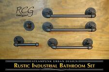 Industrial Bathroom Pipe Set B (2 Towel Racks, Hook, TP Holder, Hand Towel Bar)