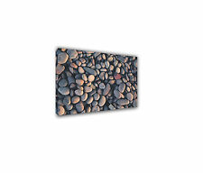 PEBBLES CLOSE UP ON A SUNDRENCHED BEACH STRETCHED CANVAS PRINT WALL ART NATURE