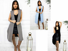 New Womens Ladies Winter Longline Sleeveless Duster Gilet Jacket Waistcoat