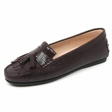 B9558 mocassino donna TOD'S scarpa frangia nappine bordeaux loafer shoe woman
