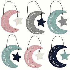 Moon Star New Baby Sentiment Nursery Hanging Sign Decoration Gift Wooden Tag 8cm