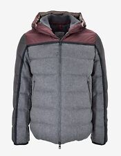 New Moncler Grey Julio Wool Panelled Down Jacket RRP £875