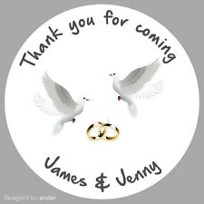 Personalised Wedding Doves and rings Party round stickers labels partysheet