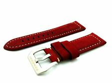 Red Suede/Leather Strap/Band Buckle for Officine Panerai Watch 22mm 24mm 26mm
