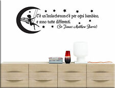 ADESIVI MURALI FRASE PETER PAN WALL STICKERS BAMBINI TATTOO CAMERETTE WS1294