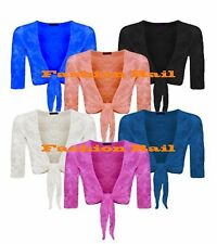 NEW WOMENS TIE KNOT 3/4 SLEEVE LACE MESH CROPPED SHRUG PLUS SIZES UK 16-26